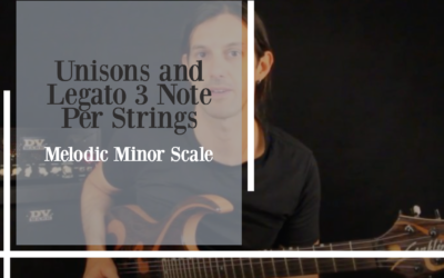 Unisons and Legato 3 Note Per String on Melodic Minor Scale